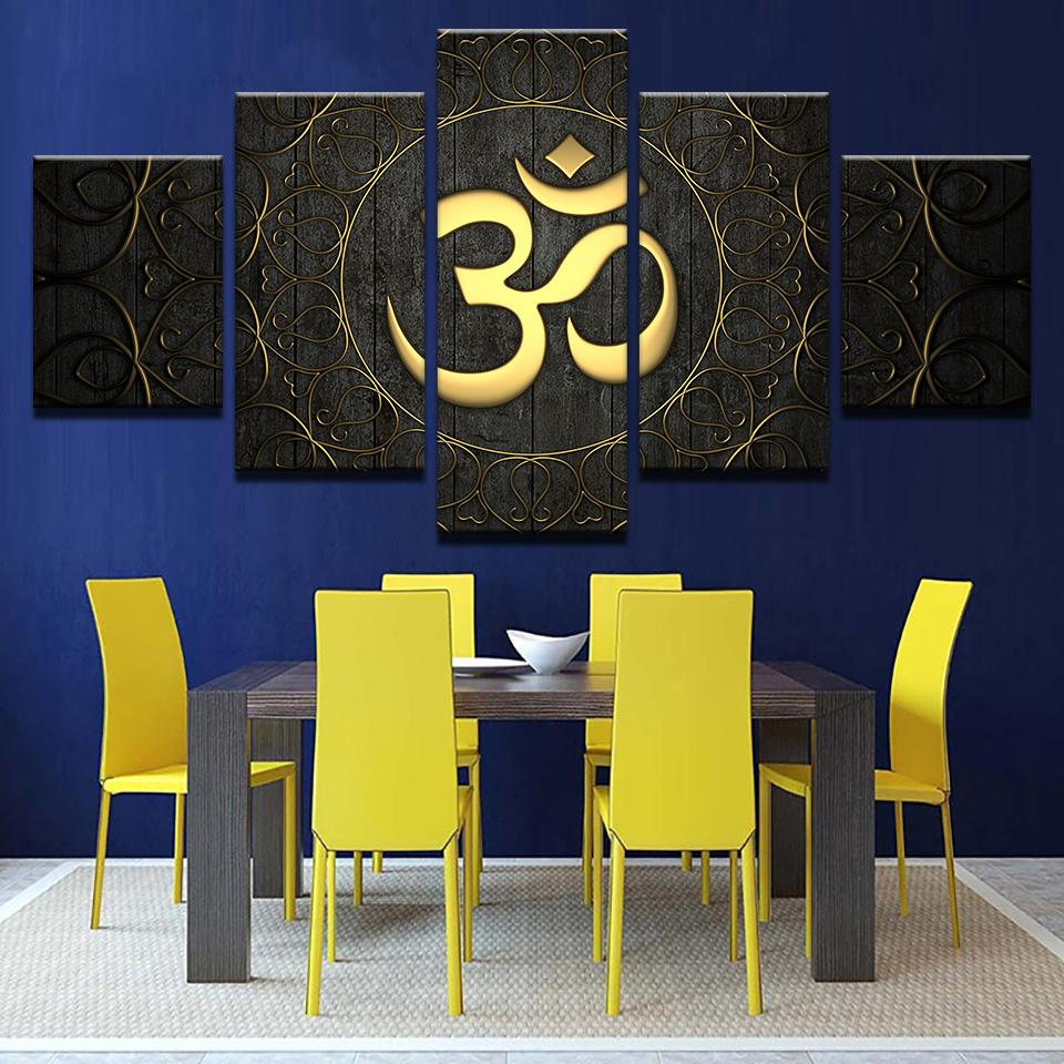 5 Piece Buddha OM Yoga Golden Symbol Canvas Wall Art Paintings Sale ...