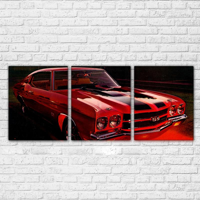 3 Piece Chevrolet Red Retro Red Car Canvas Wall Art Sets - It Make Your Day