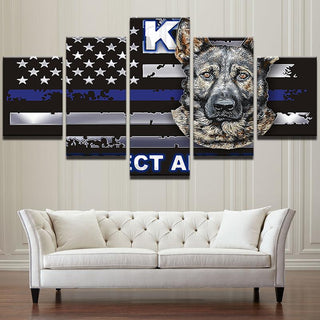 5 Pieces Animal Dog Canvas Wall Art Prints