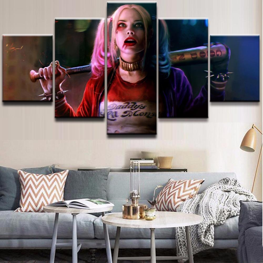 5 Piece Harley Quinn The Dark Knight Movie Canvas Wall Art Paintings - It Make Your Day