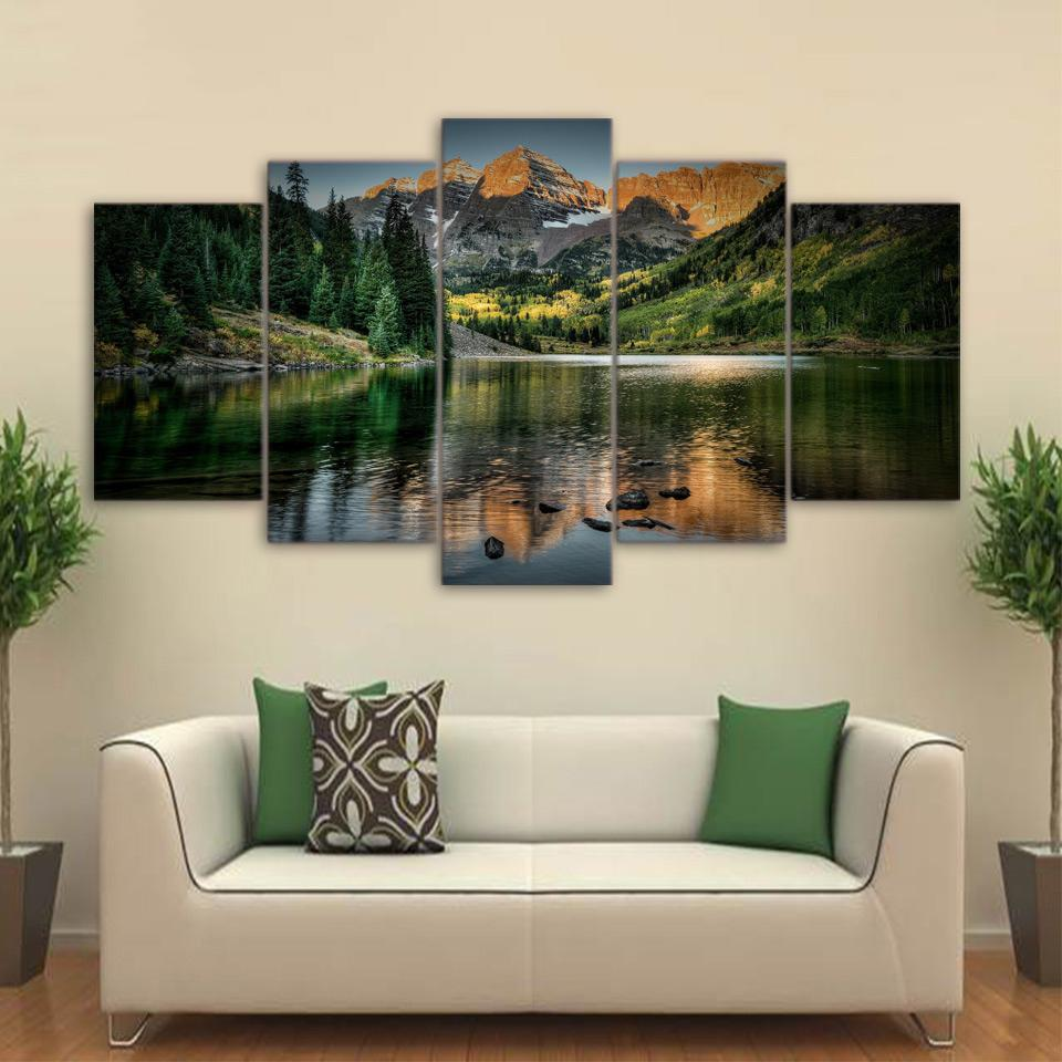 ... 5 Piece Mountains Lake Landscape Canvas Wall Art Paintings   It Make  Your Day ...