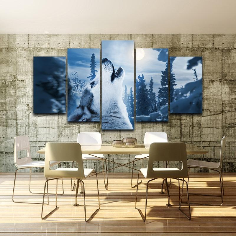 5 Piece Forest Animal Snow Wolf Modular Canvas Wall Art Paintings - It Make Your Day