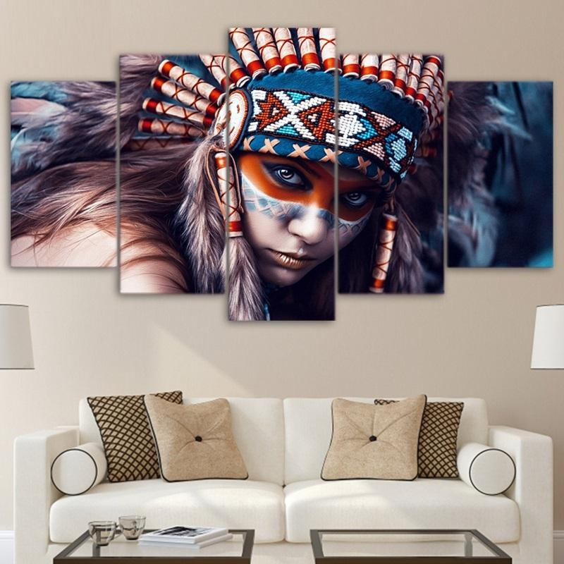 5 Piece Indians Girl Feather Print Canvas Wall Art Paintings - It Make Your Day