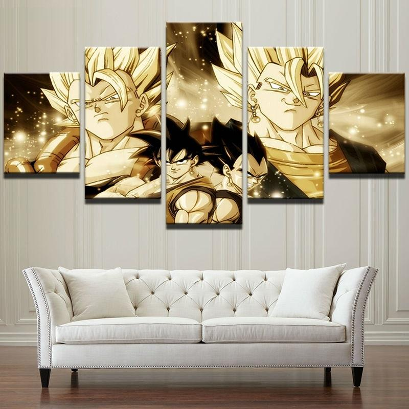 Framed 5 Piece Cartoon Anime Dragon Ball 4 Canvas Wall Art Paintings - It Make Your Day