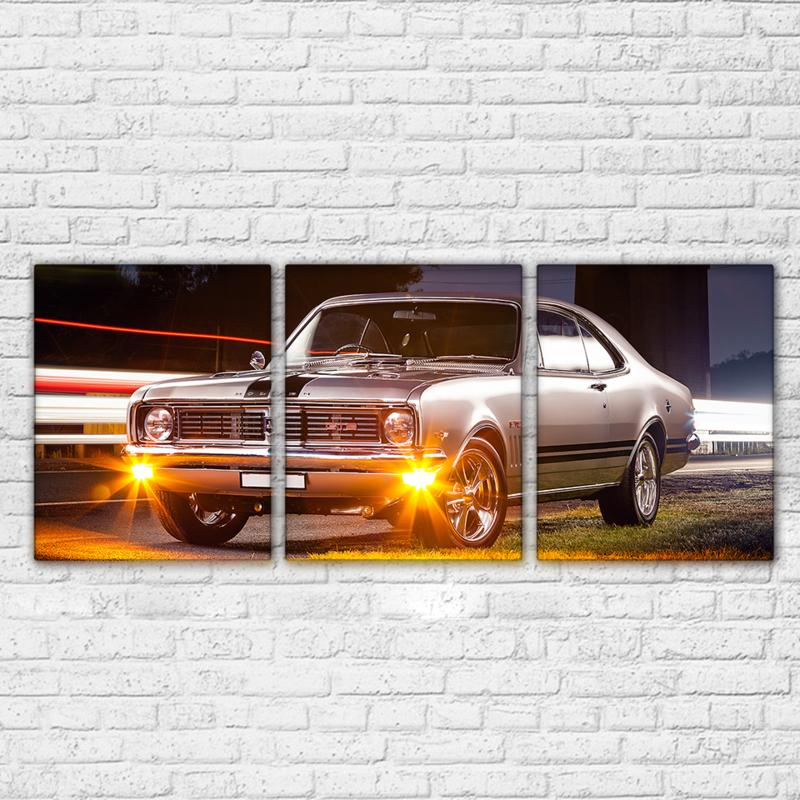 3 Piece Silver Gray Luxury Flashy Sports Car Canvas Wall Art Sets - It Make Your Day