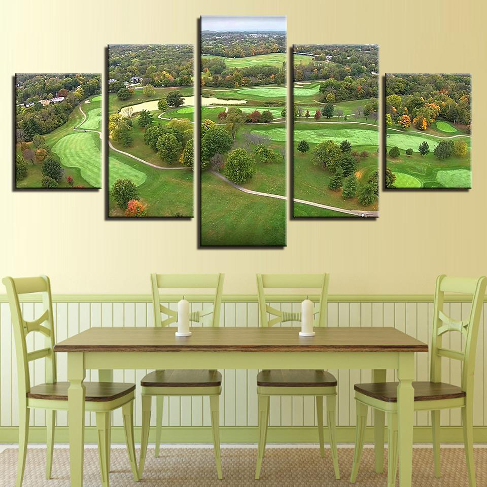 5 Piece Golf Course Green Aerial View Canvas Wall Art Paintings Sale ...