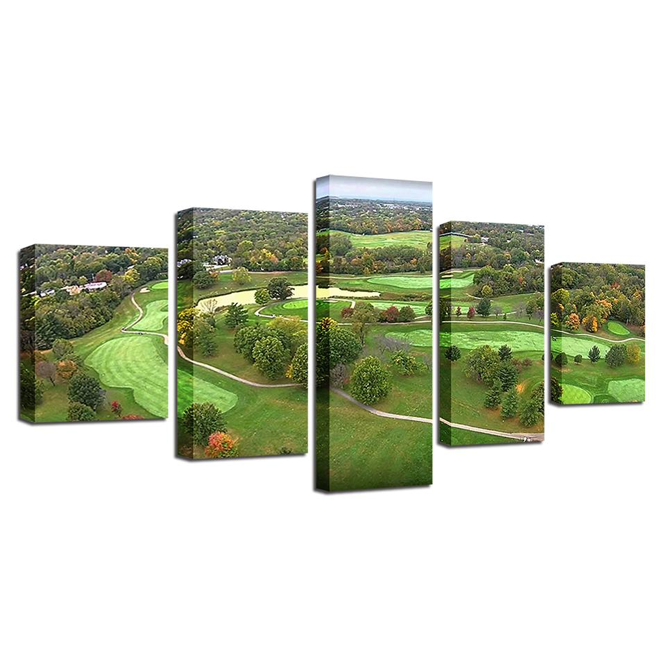 5 Pieces Golf Course Paintings Modular Green Aerial View Canvas - It Make Your Day