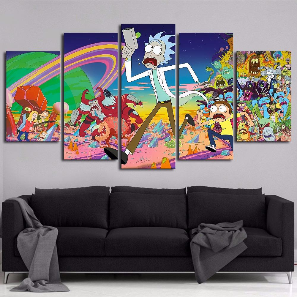 5 Piece HD Printed Rick and Morty Canvas - It Make Your Day