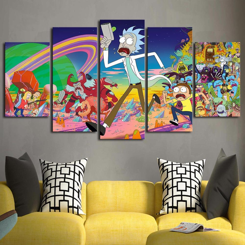 ... Wall Art Paintings Sets. 5 Piece HD Printed Rick And Morty Canvas   It  Make Your Day