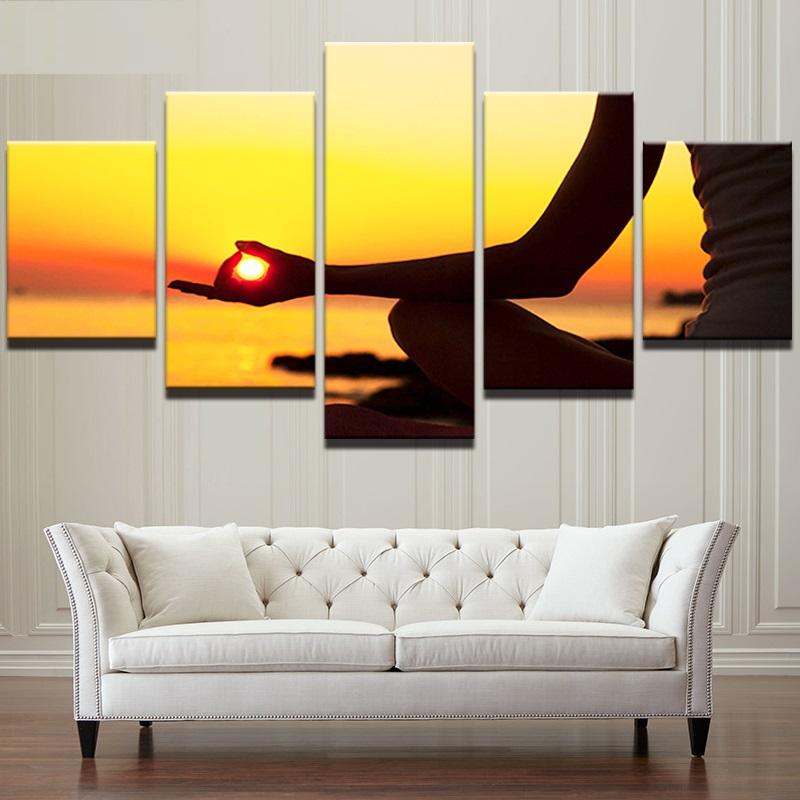 5 Piece Sunset Seaside Yoga Abstract Canvas Wall Art Paintings Sale ...