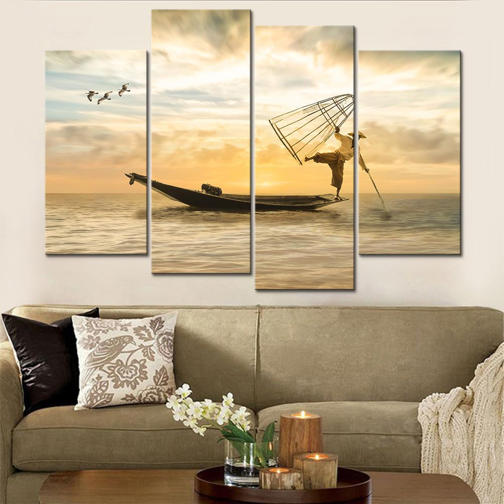 5 Piece Sea Fishing People Canvas Wall Art Sets - It Make Your Day