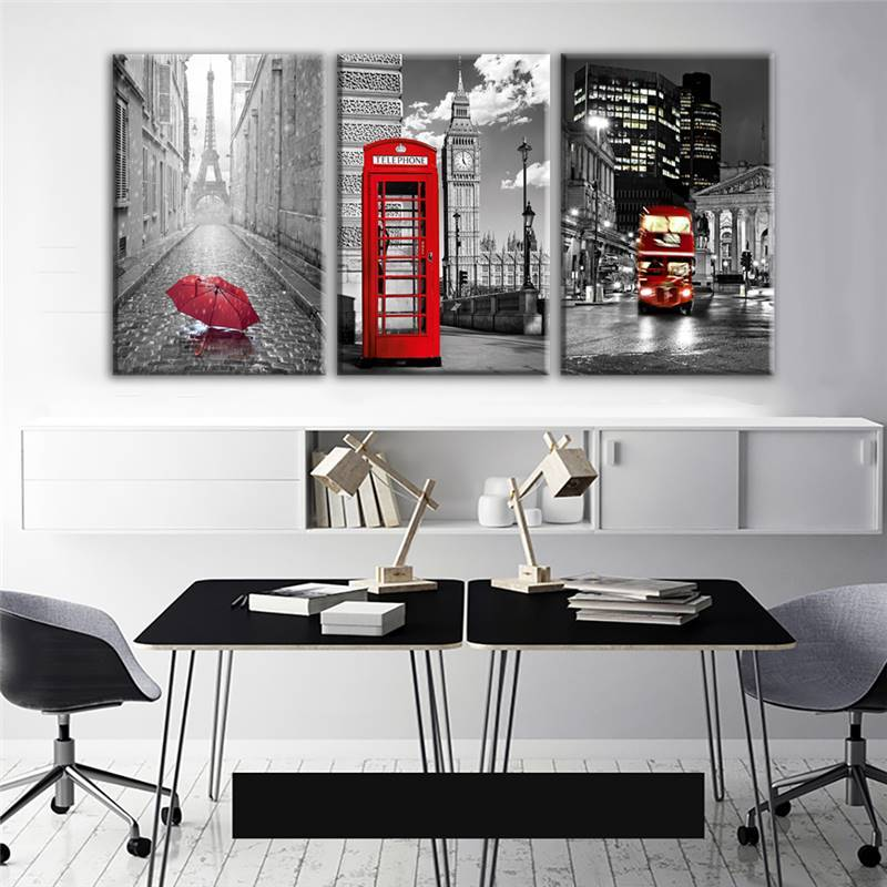 Paris Black White Eiffel Tower Red Car – It Make Your Day