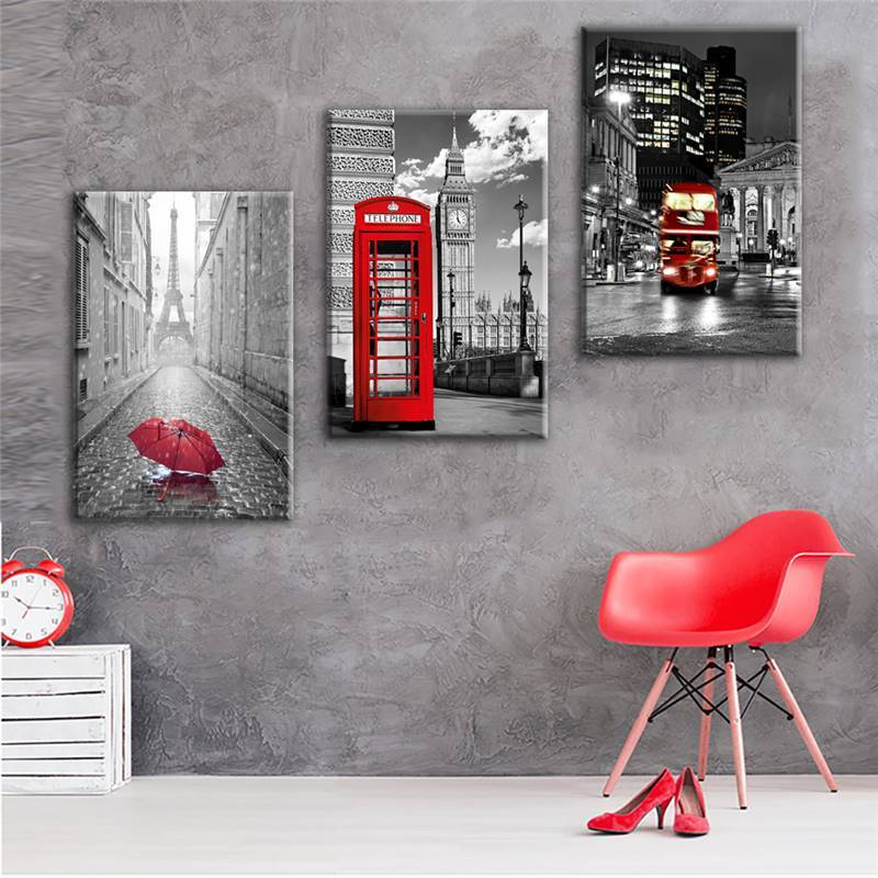 3 Piece Paris Black White Eiffel Tower Red Car Umbrellas Canvas - It Make Your Day