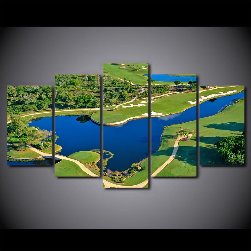 5 Pieces Poster Golf Course Beautiful Pool Canvas - It Make Your Day