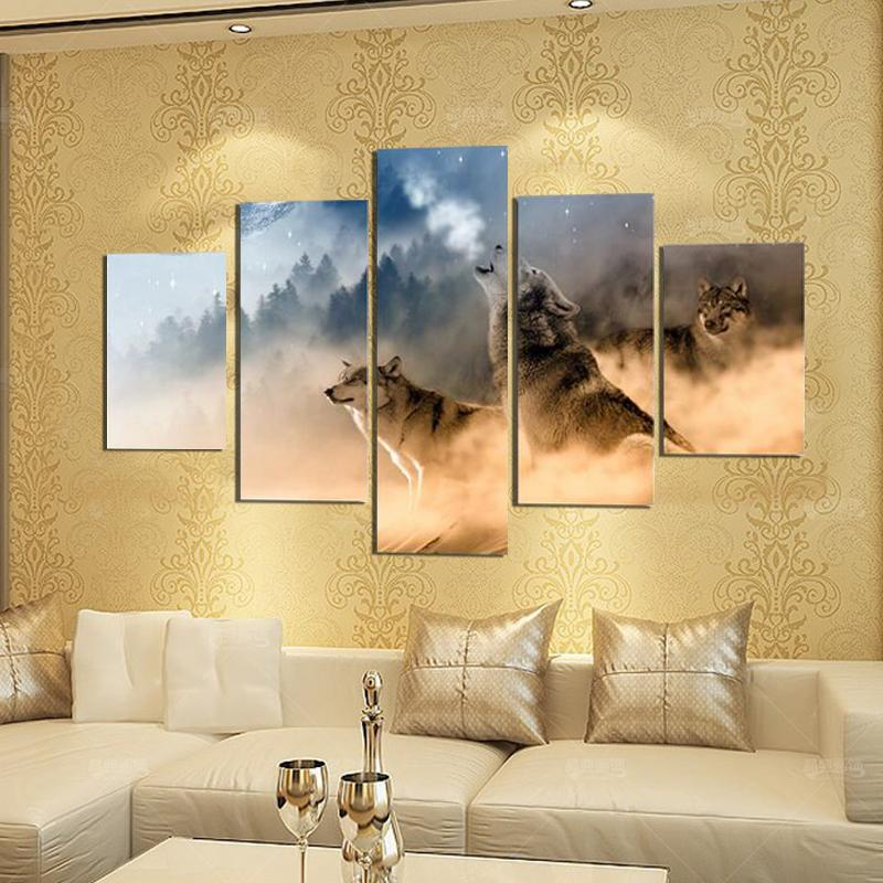 5 Piece Three Wolves In The Mountains Roar Canvas Wall Art Paintings - It Make Your Day
