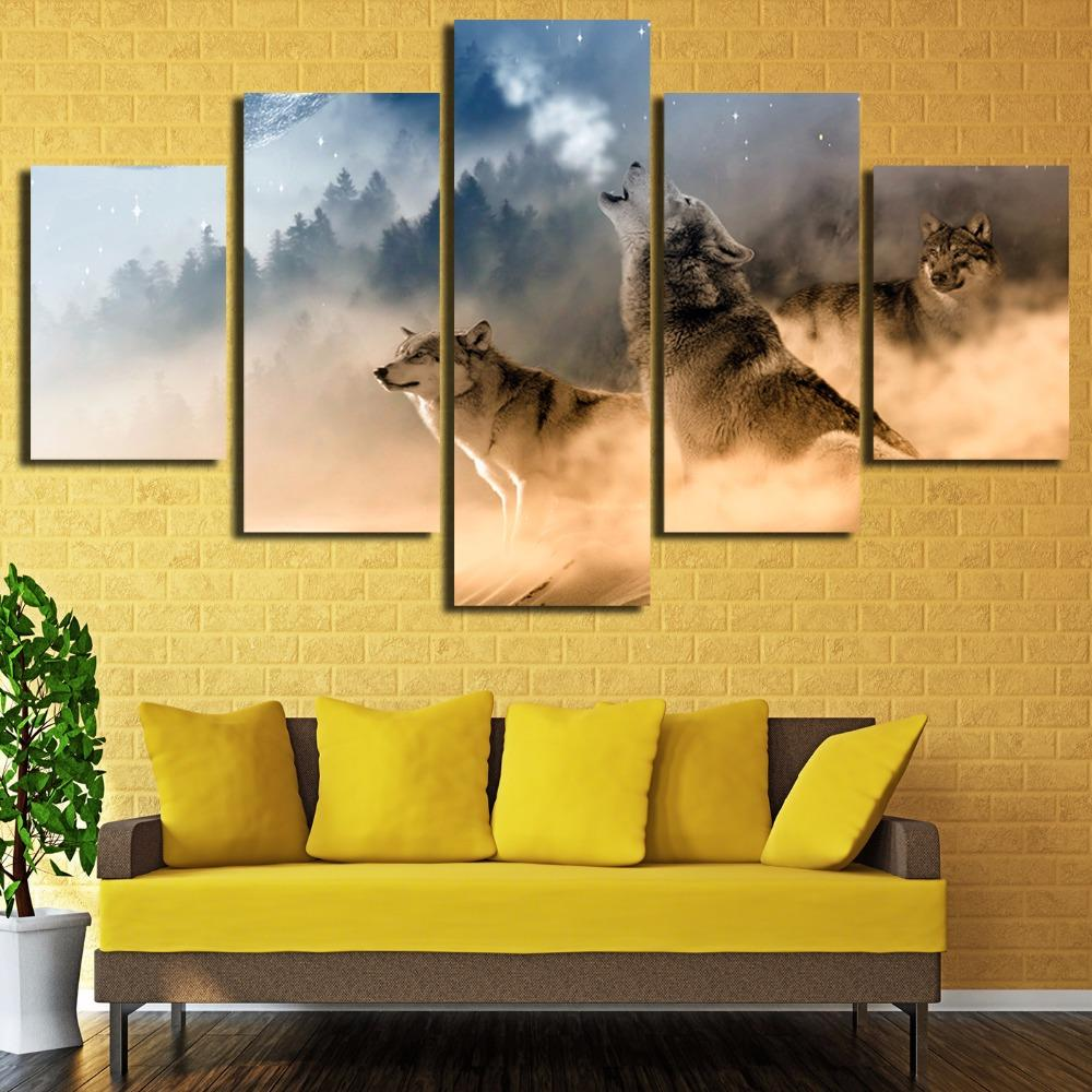 5 Piece Three Wolves In The Mountains Roar Canvas Wall Art Paintings ...