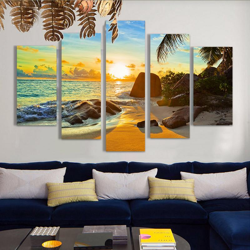 5 Piece Ocean Sunset Beach Seascape Canvas Paintings - It Make Your Day