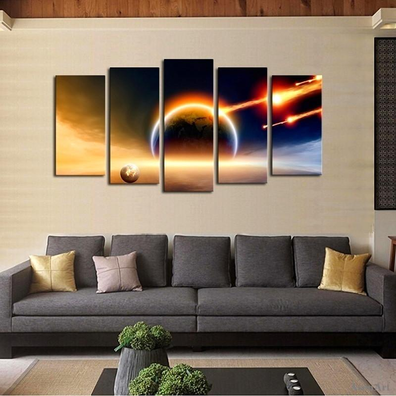 5 Piece Modern Space With Comets Canvas Painting Wall Art - It Make Your Day