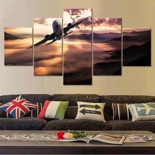 5 Piece Airplane Wall Decor Canvas Painting - It Make Your Day