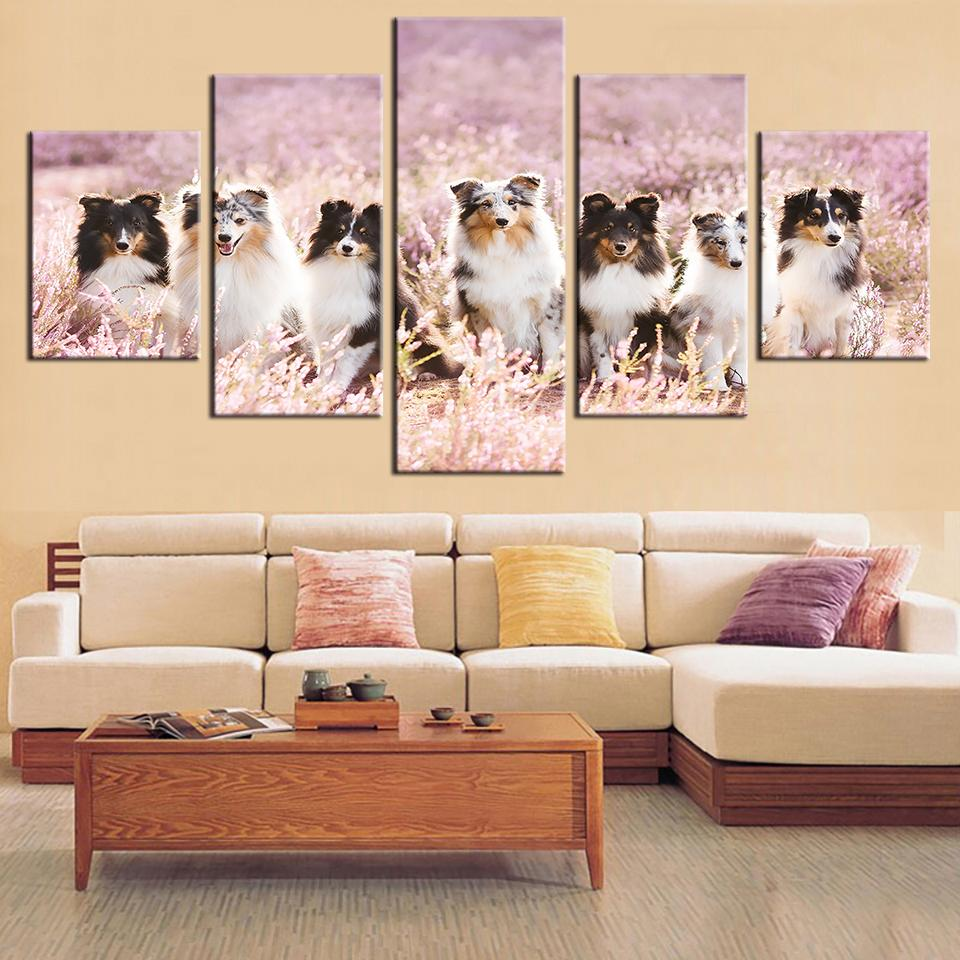 5 Pieces Pet Dog In Flower Canvas - It Make Your Day