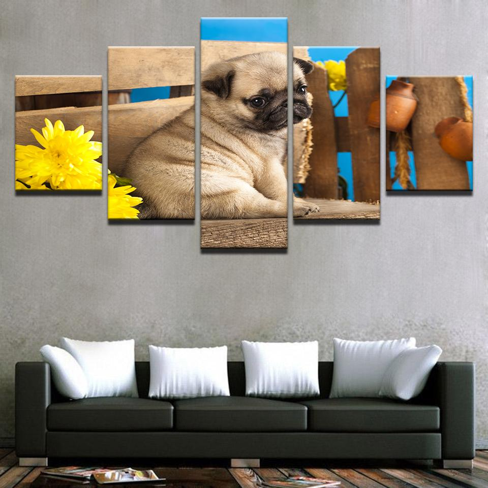 5 Pieces Cute Pug Puppies Canvas - It Make Your Day