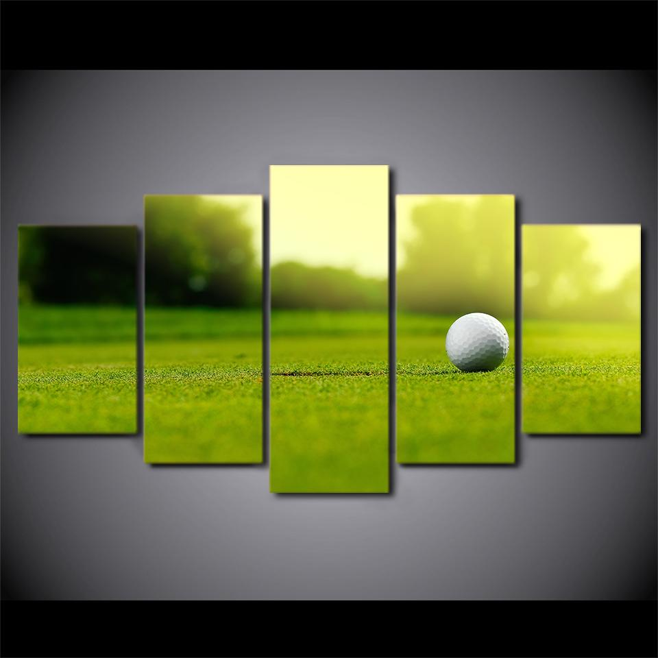 5 Pieces Golf Course Painting Golf Ball Canvas - It Make Your Day