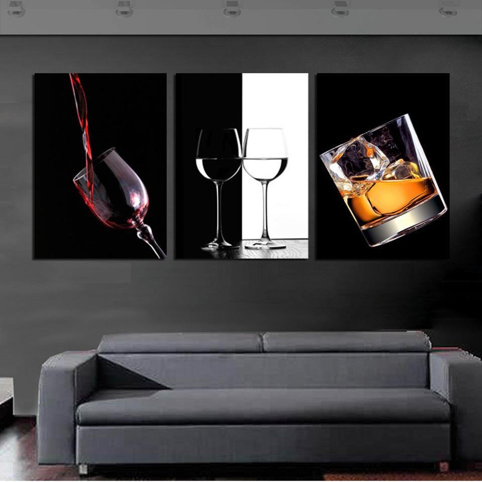 3 Piece Ice Red Wine Cup Bottle For Bar Canvas Wall Art Paintings - It Make Your Day