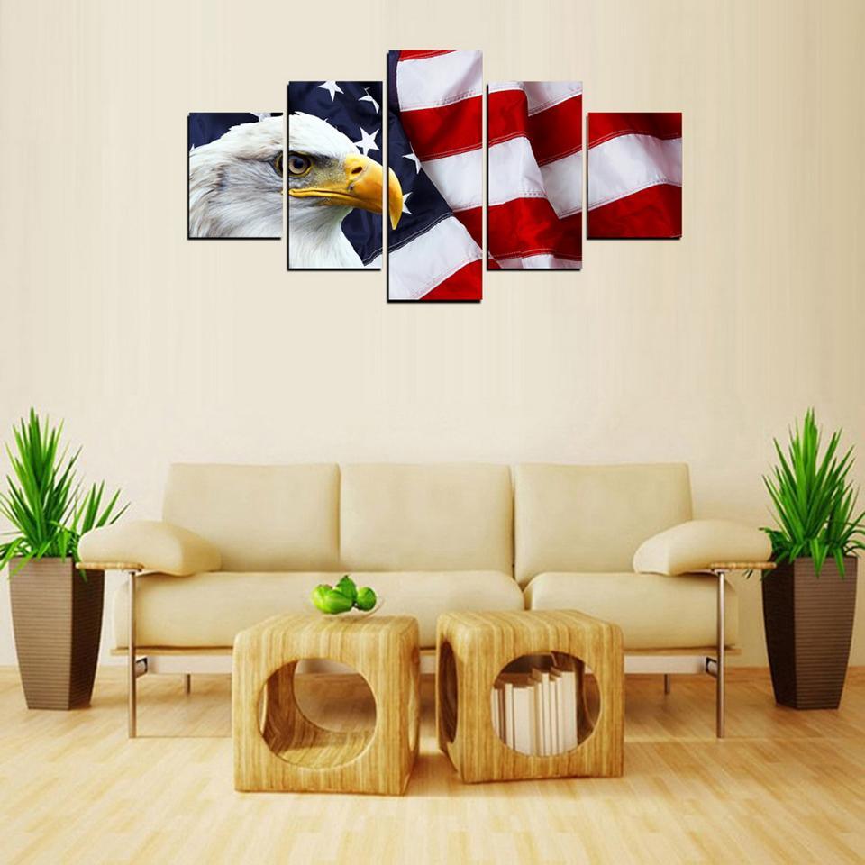 6ac0eb68191 5 Piece Bright Eagle American Flag Canvas Wall Art Paintings For ...