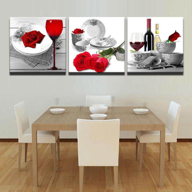 3 Piece Red Roses Wine Glass Flowers Canvas Wall Art Sets   It Make Your Day