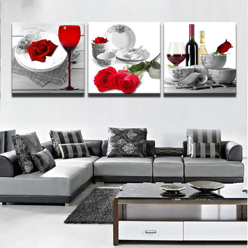 3 Piece Red Roses Wine Glass Flowers Canvas Wall Art Paintings - It Make Your Day