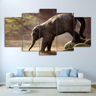 5 Piece Elephant Drinking Landscape Canvas Wall Art Paintings - It Make Your Day