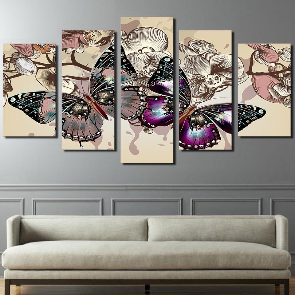 Framed 5 Piece Flowers Butterfly Canvas Wall Art Sets   It Make Your Day