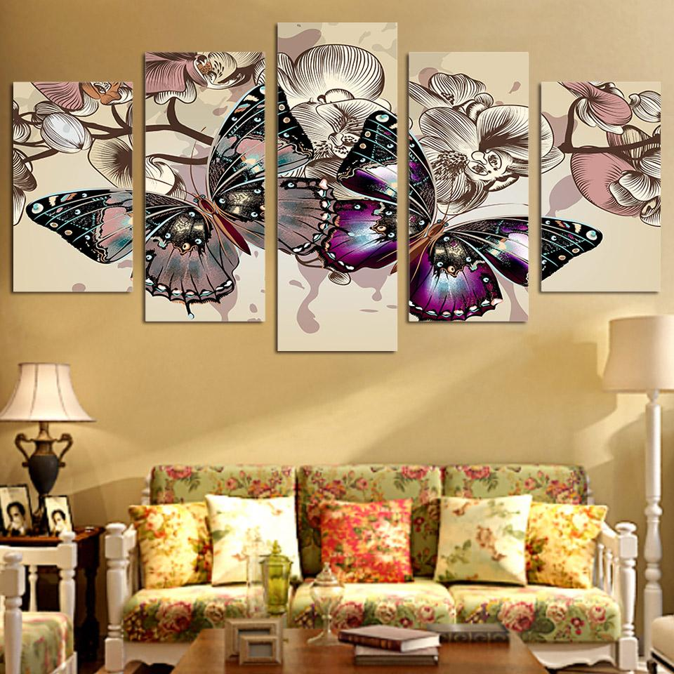 Framed 5 Piece Flowers Butterfly Canvas Wall Art Sets - It Make Your Day