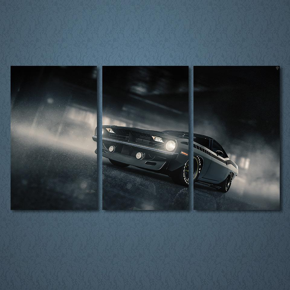 3 Piece Plymouth Barracuda Car Canvas - It Make Your Day