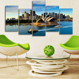 5 Piece Sydney Opera House Building Boat Seascape Canvas Wall Art Paintings - It Make Your Day