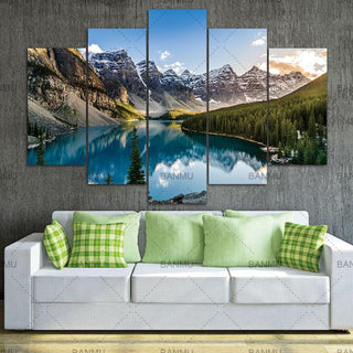 5 Piece Moraine Lake And Mountain Canvas Wall Art Paintings - It Make Your Day