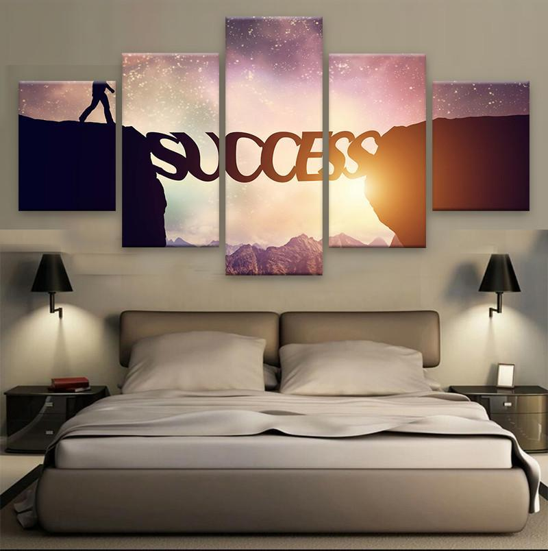 "5 Piece Motivational ""Success"" Canvas Painting Wall Art - It Make Your Day"