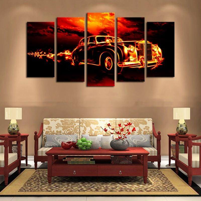 5 Piece Movie Car in Flame Game Car  Canvas Painting Wall Art - It Make Your Day