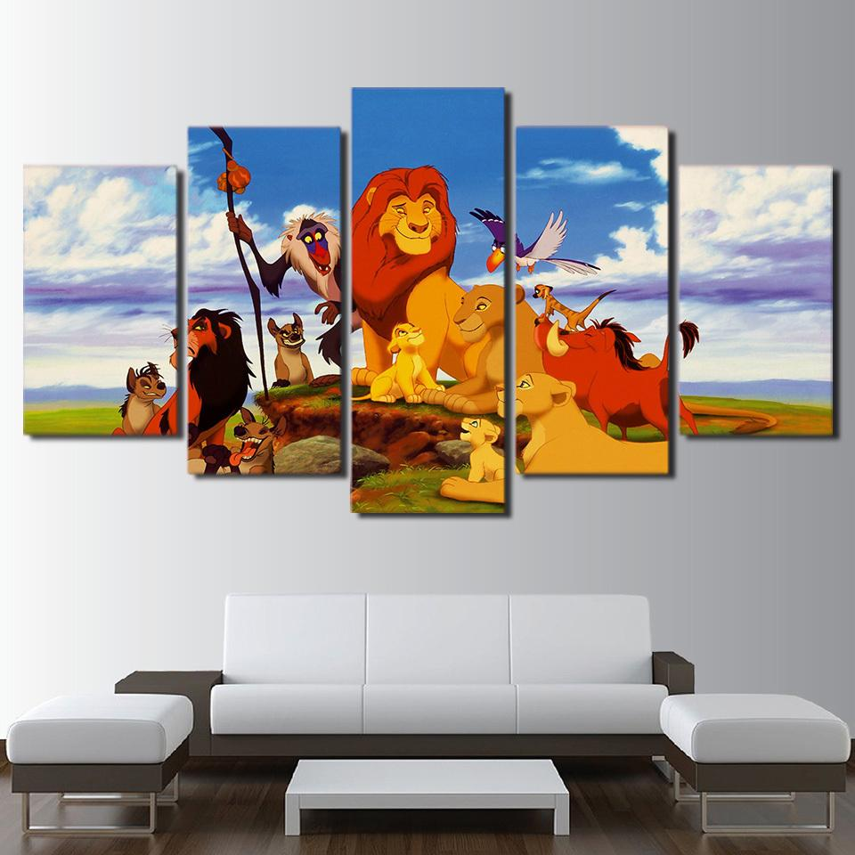 5 Piece Lion King Character Animals Movie Canvas Painting Wall Art - It Make Your Day