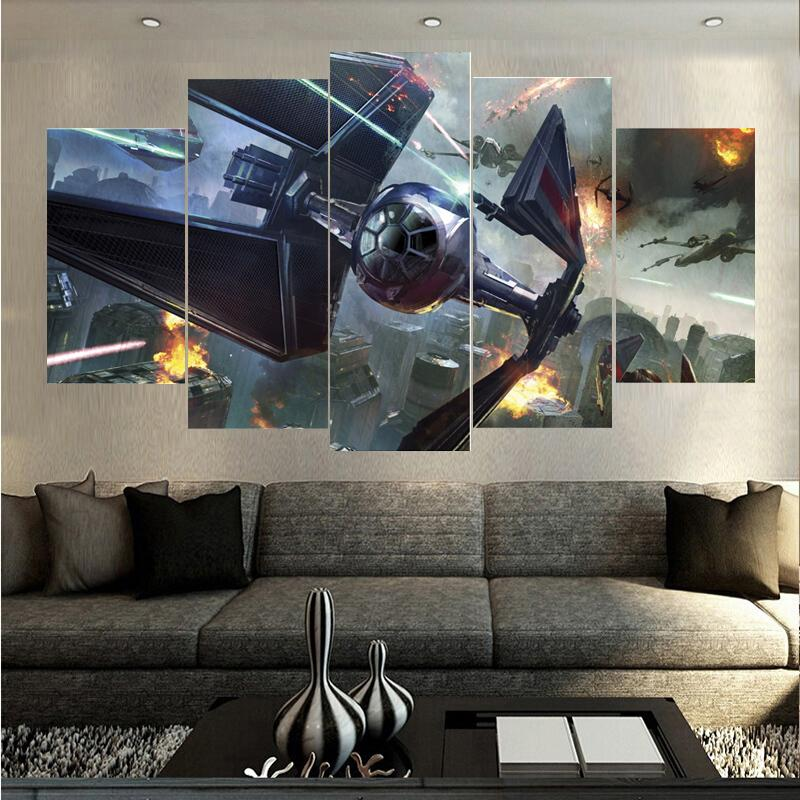 5 Piece Star War Spaceship Fighting Movie Canvas Painting Wall Art - It Make Your Day