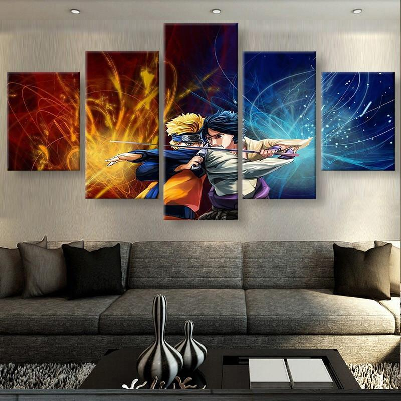 5 Piece Naruto and Sasuke HD Print Canvas Wall Art Paintings - It Make Your Day