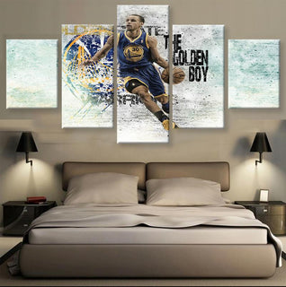 5 Piece Stephen Curry Basketball Canvas Painting Wall Art - It Make Your Day