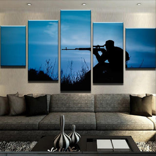 5 Piece Nighttime Sniper Canvas Wall Art Paintings - It Make Your Day