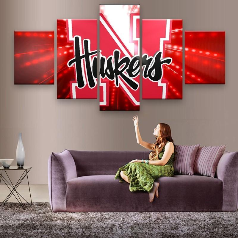 5 Piece Nebraska Cornhuskers American Football Canvas Painting Wall Art - It Make Your Day