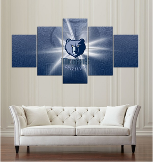 5 Piece Memphis grizzlies Wall Art Canvas Paintings - It Make Your Day