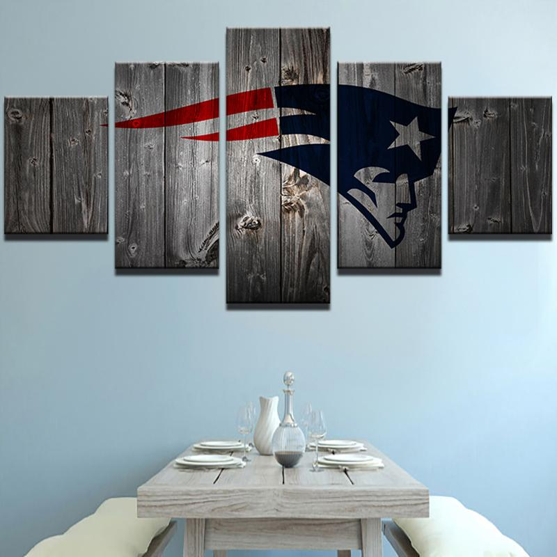 5 Piece New England Patriots Football Canvas Wall Art Paintings Sale ...