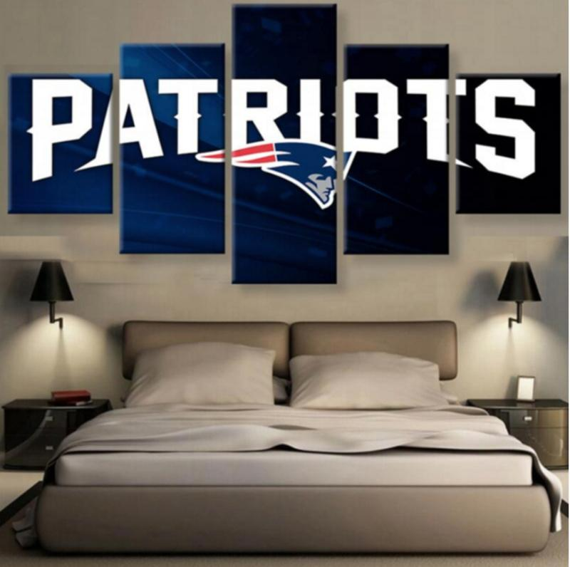 5 Piece New England Patriots Logo Rugby Canvas Paintings - It Make Your Day