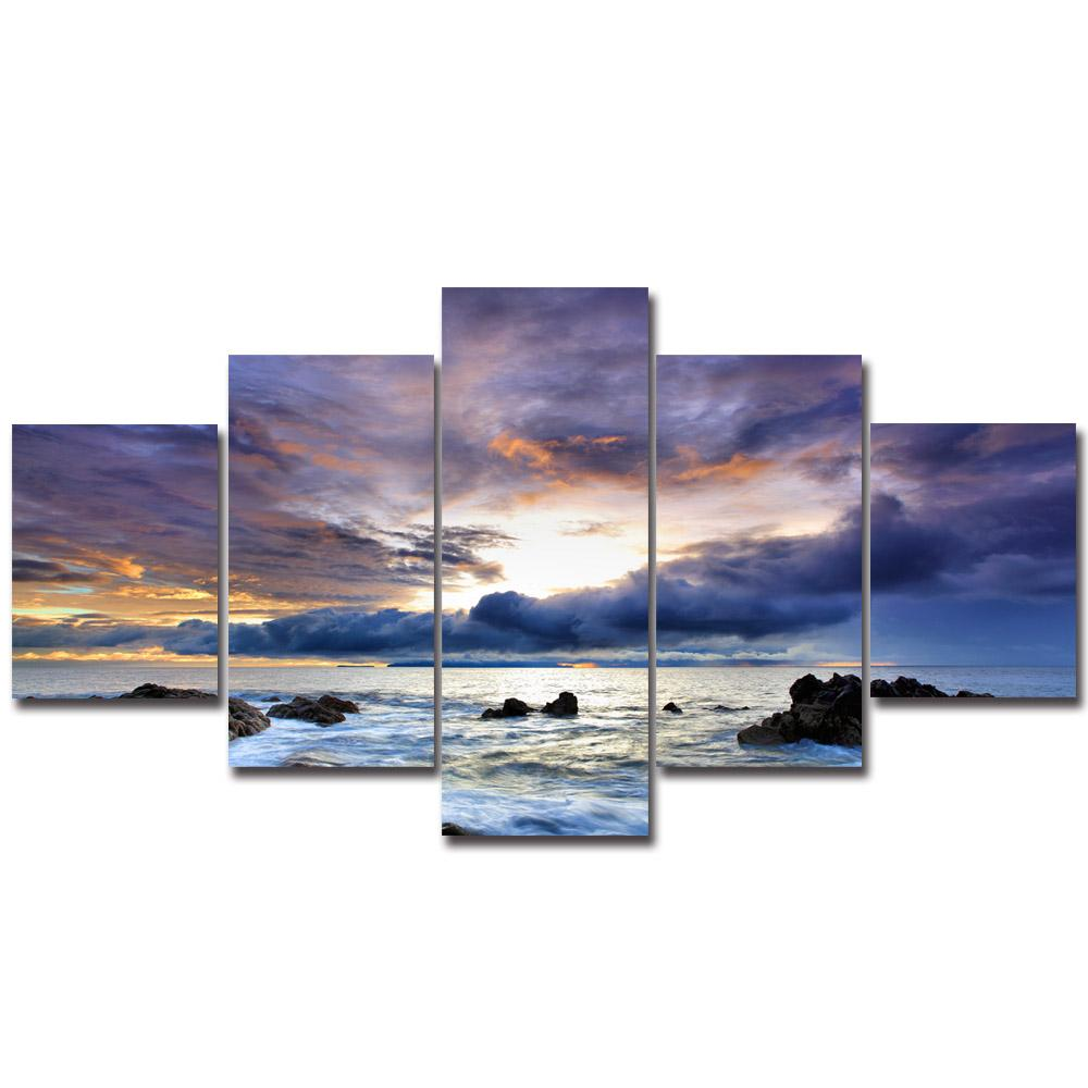5 Piece Ocean Sunset Scenery Canvas Paintings - It Make Your Day