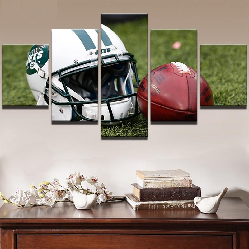 5 Piece New York Jets Helmet HD Rugby Canvas Paintings - It Make Your Day