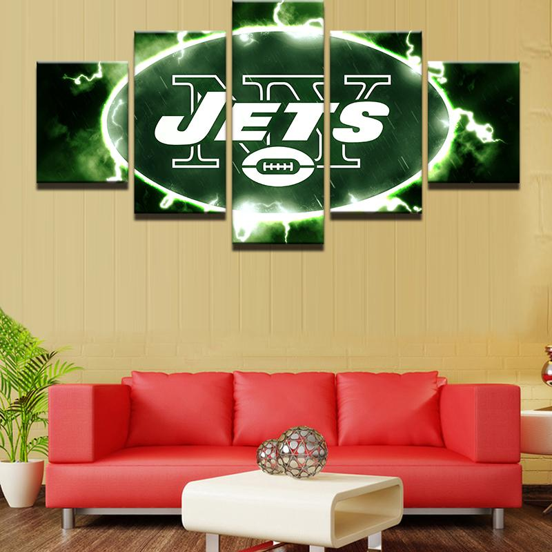 5 Piece New York Jets Football Team Rugby Sport Canvas Paintings - It Make Your Day